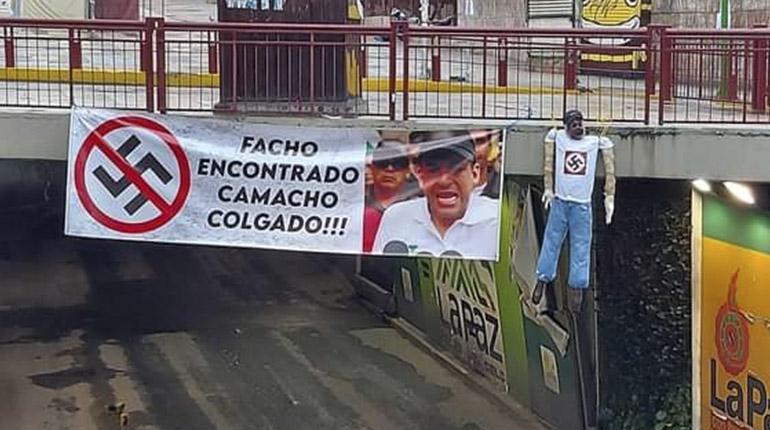 SUSPENDEN DECLARACIÓN DE LUIS FERNANDO CAMACHO: Cuelgan en La Paz muñecos con mensajes y amenazas